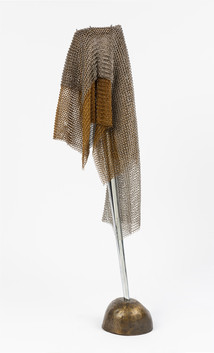 A bronze, chrome and chain mail'Anchise'table lamp by Toni Cordero for Artemide, Italian, circa 1980