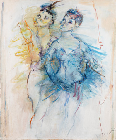 MARY (MCLEISH) COURIER (1911-1969) Untitled (Blue and Green Ballerinas) oil on canvas signed lower right: Mary E Courier 91.5 x 76.5cm