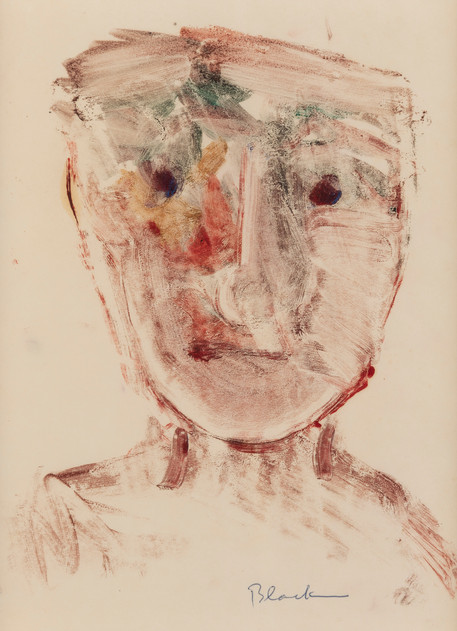 CHARLES BLACKMAN (1928-2018) Head Study, 1951 monotype signed lower right: Blackman 26.5 x 19.5cm