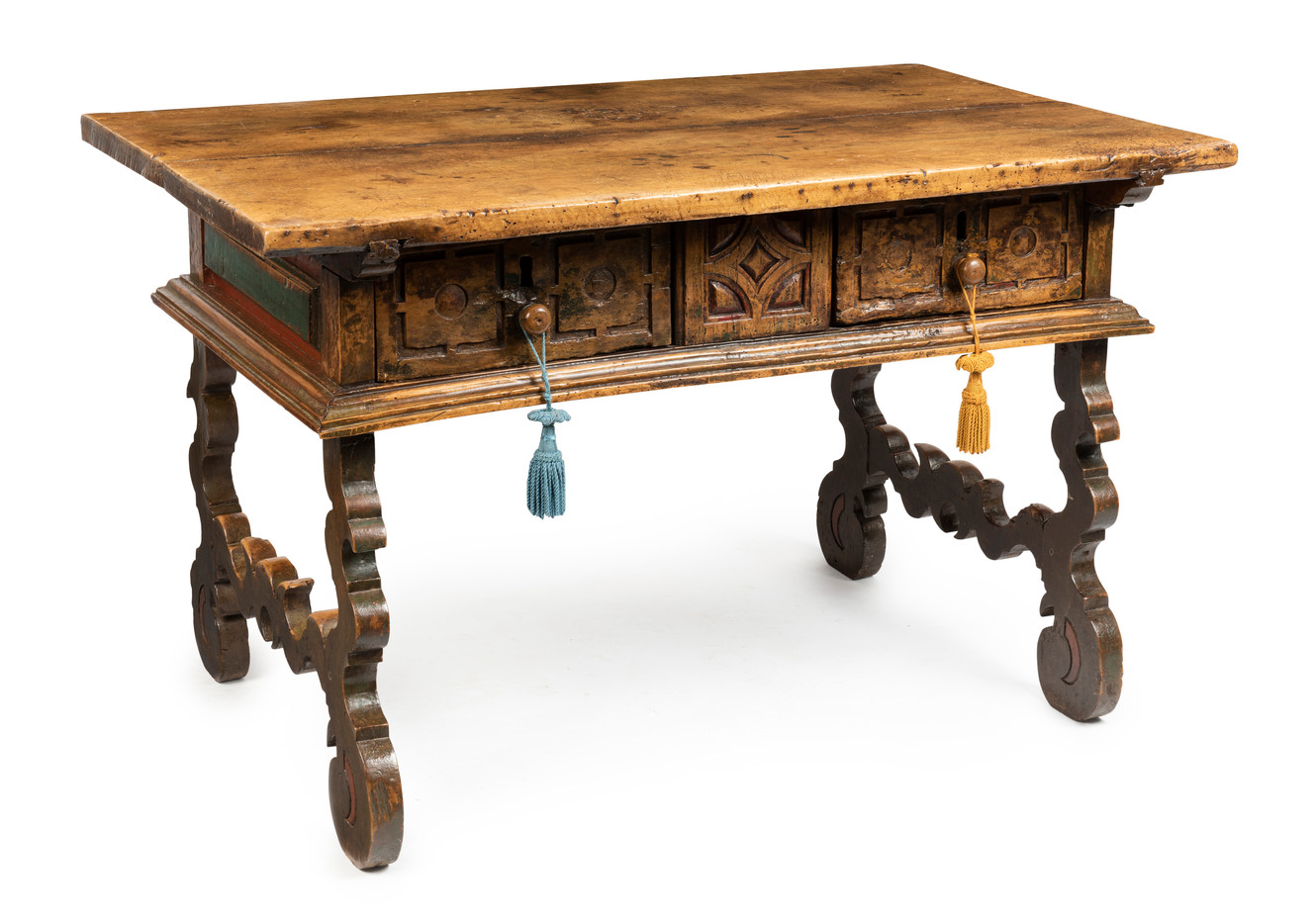 An Italian carved walnut two drawer side table, 18th century