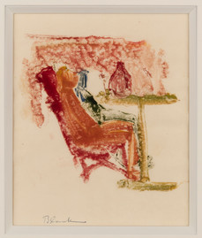 CHARLES BLACKMAN (1928-2018) Seated Figure Study, 1951 monotype signed lower right: Blackman 20.5 x 17cm