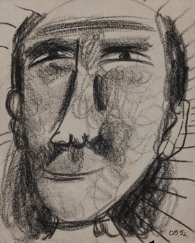 CHARLES BLACKMAN (1928-2018) Footface, 1952 charcoal on paper initialed and dated lower right: CB, 52 21 x 16.5cm