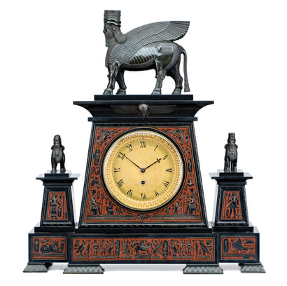 An impressive Grand Tour Egyptian revival bronze-mounted rouge and black marble mantel clock by Webster London, English, 19th century