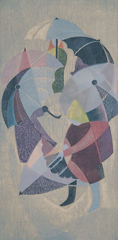 EILEEN ROSEMARY MAYO (Britain, Australia, New Zealand, 1906-94)   Children with Umbrella  woodblock print  editioned and signed lower right: A/P 4/10, Eileen Mayo  39.5 x 19.5 cm  $2500-3500