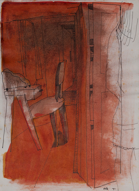 CHARLES BLACKMAN (1928-2018) Interior, 1971 pen and wash on paper initialed and dated lower right: CB, 71 31 x 23cm