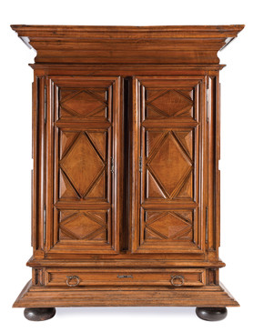 A fine Louis XIV walnut geometric design armoire, Bordeaux Region, French late 17th/early 18th century