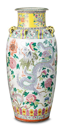 A large and impressive famille-rose 'dragon and phoenix' vase Qing dynasty, 19th century