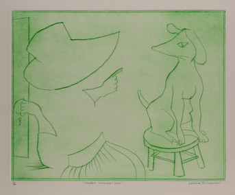 """CHARLES BLACKMAN (1928-2018) Mother Hubbard's Dog drypoint editioned, titled and signed lower left, centre and right on margin: 11/20 / """"MOTHER HUBBARD'S DOG"""" / CHARLES BLACKMAN 40 x 50cm"""