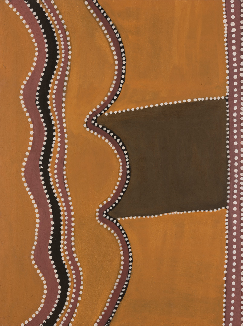 HENRY WAMBINI JAWALYI (Australia, Aboriginal c1934-2003) Mammanbidding Cave synthetic polymer on canvas titled and signed verso: MANMANBIDDING CAVE, HENRY  $1000-1500