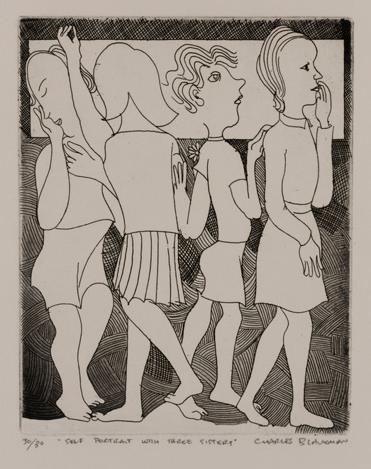 "CHARLES BLACKMAN (1928-2018) Self Portrait with Three Sisters etching editioned, titled and signed lower left, centre and right on margin: 30/30 / ""SELF PORTRAIT WITH THREE SISTERS"" / CHARLES BLACKMAN 25 x 20cm"