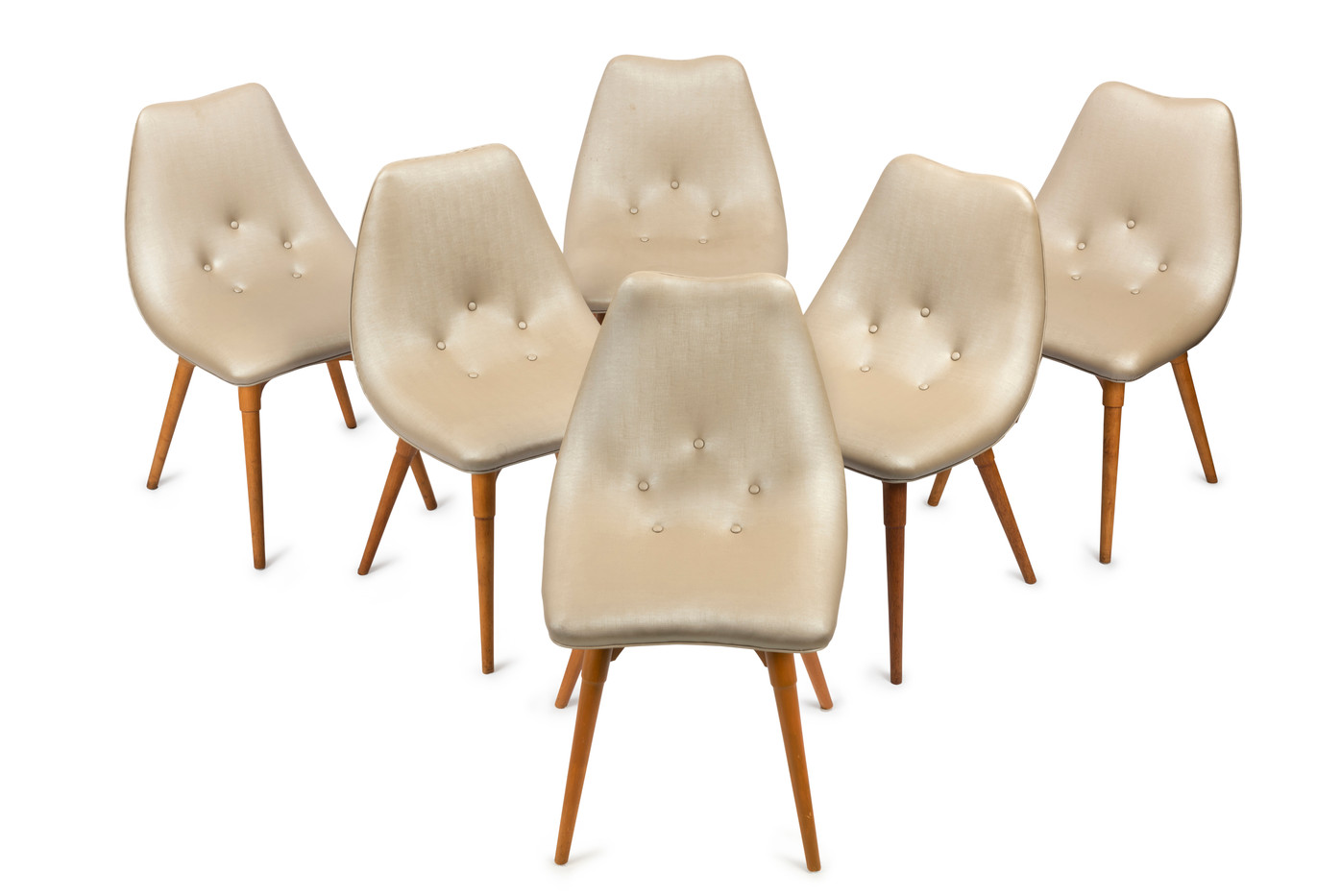 A set of fourteen D350 contour dining chairs designed by Grant Featherston, 1951
