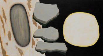 ALLEN HICKS Pond Moon Lit Carving 2017 acrylic on canvas 61 x 100cm $750