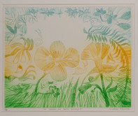 """CHARLES BLACKMAN (1928-2018) Le Jardin des petits Escargots drypoint editioned, titled and signed lower left, centre and right on margin: 20/20 / """"LE JARDIN DES PETITS ESCARGOTS"""" / CHARLES BLACKMAN 40 x 50cm"""