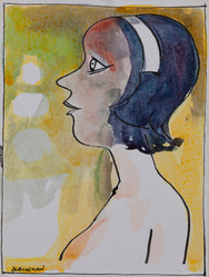 CHARLES BLACKMAN (1928-2018) Headband, 1968 mixed media on paper signed lower left: BLACKMAN 20 x 15cm