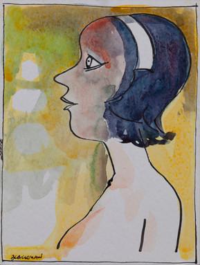 CHARLES BLACKMAN (1928-2018) Headband, 1968 mixed media on paper signed lower left: BLACKMAN 20 x 15cm