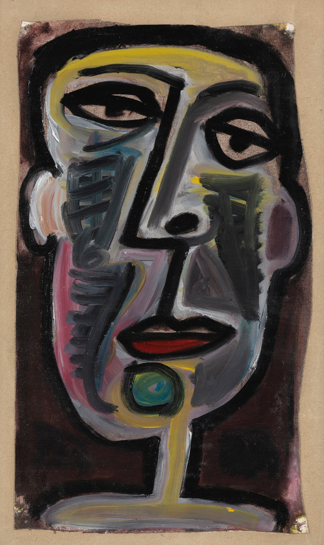 JOHN ANTHONY (TONY) TUCKSON (Australia, Britain, 1921-73)   Portrait of a Man circa 1949-53  oil on canvas on board   47.5 x 27.5 cm  $6000-8000