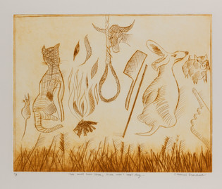 "CHARLES BLACKMAN (1928-2018) Fire Won't Burn Stick, Stick Won't Beat Dog drypoint editioned, titled and signed left, centre and right on margin: A/P / ""FIRE WON'T BURN STICK, STICK WON'T BEAT DOG;..."" / CHARLES BLACKMAN 44 x 53.5cm"