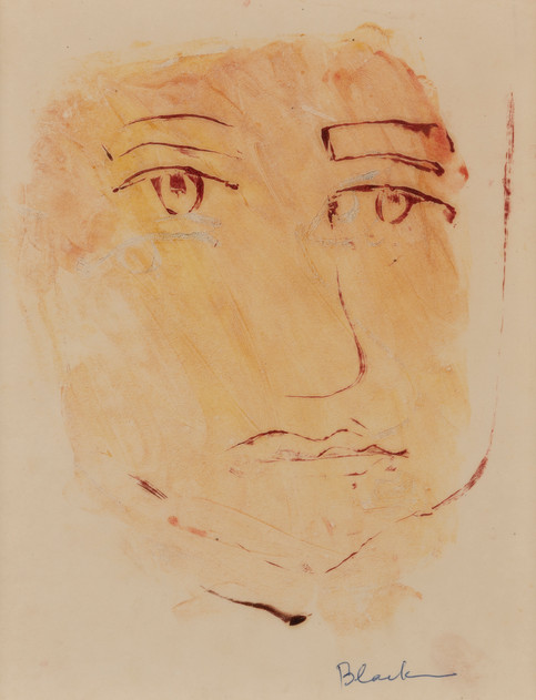 CHARLES BLACKMAN (1928-2018) Head Study, 1951 monotype signed lower right: Blackman 25.5 x 20cm