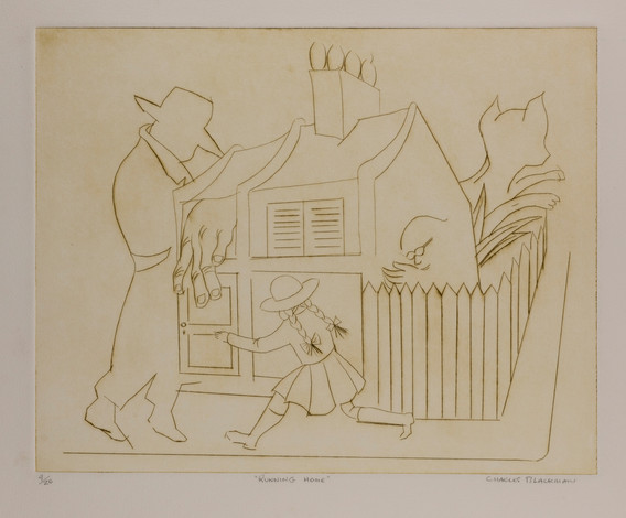 """CHARLES BLACKMAN (1928-2018) Running Home drypoint editioned, titled and signed lower left, centre and right on margin: 9/20 / """"RUNNING HOME"""" / CHARLES BLACKMAN 40 x 50cm"""