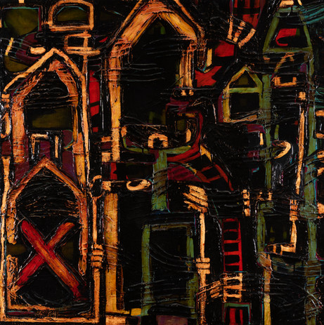 ROBERT DOBLE (Australia, 1961-)  Beth Birei (The House of My Creator) 1999 oil on linen canvas signed, dated and titled verso: DOBLE, 1999, BETH BIREI (THE HOUSE OF MY CREATOR)  122 x 122cm  $1500-2500