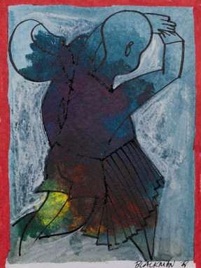 CHARLES BLACKMAN (1928-2018) Children Dancing, 1968 mixed media on paper signed and dated lower right: BLACKMAN '68 20.5 x 15.5cm