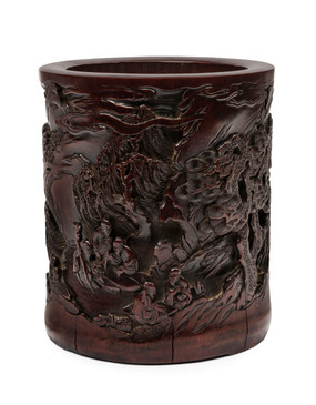 A carved bamboo 'scholar's' brushpot, 19th/20th century