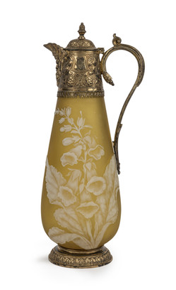 A rare silver mounted cameo glass claret jug attributed to Thomas Webb & Sons, dated 1880 maker's mark Joseph Cook & Son, Birmingham, 1880