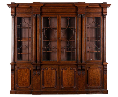 An impressive William IV mahogany breakfront library bookcase