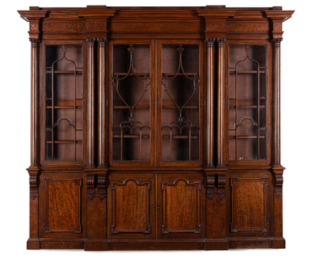 An impressive William IV mahogany breakfront library bookcase