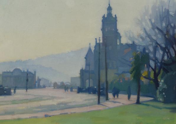 RAYMOND MCINTYRE (NEW ZEALAND 1879-1933) Dunedin Street Scene, circa 1907
