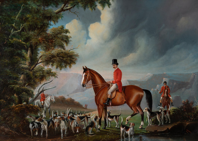 AUGUSTUS BAKER PEIRCE (Britain, Australia, 1840-1919) Chirnside and the Melbourne Hunt Club, 1882 oil on canvas signed and dated lower right: Gus B. Pierce 1882 63 x 88cm  $15,000-25,000