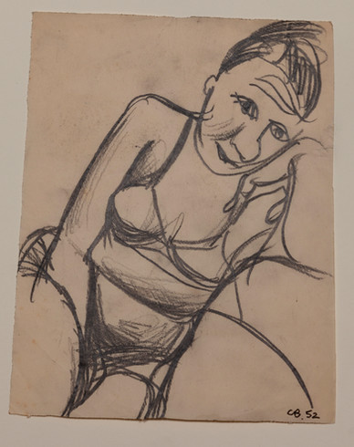 CHARLES BLACKMAN (1928-2018) Barbara sketch, 1952 charcoal on paper initialed and dated lower right: CB, 52 21 x 17cm (image size)
