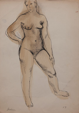 CHARLES BLACKMAN (1928-2018) Model Barbara, 1953 pen, ink and wash on paper signed and dated lower left and right: Blackman 53 40 x 27.5cm