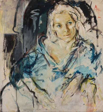MARY (MCLEISH) COURIER (1911-1969) Portrait of Mignonne oil on canvas monogrammed upper right: MMCL 66 x 61cm