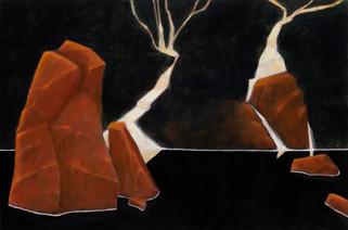 ALLEN HICKS Restless Falls I, Restless Falls II (pair) 2020 acrylic on canvas 31 x 61cm (each); 31 x 122cm (pair) SOLD