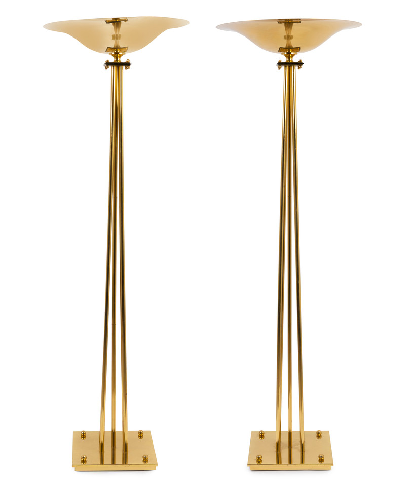 A pair of Art Deco solid brass floor lamps, French, circa 1920