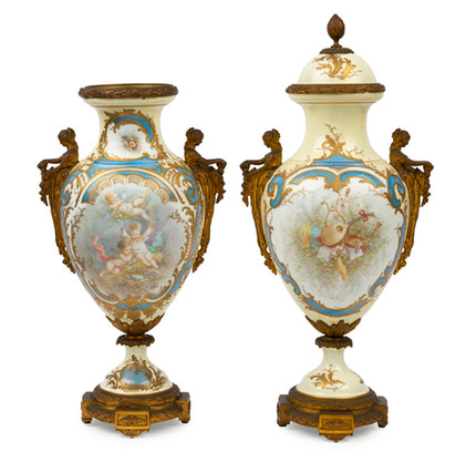 A pair of Sevres style bronze mounted porcelain vases, French, 19th century