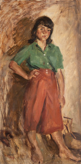 MARY (MCLEISH) COURIER (1911-1969) Red Culottes oil on canvas signed to lower left: ME. McLeish 120 x 60.5cm