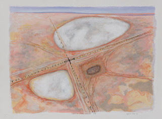 ALLEN HICKS Ghost of Warming 6 - Crossroads 2020 acrylic on paper 56 x 76cm SOLD