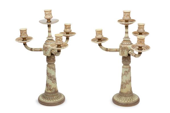 A rare pair of Thomas Webb & Sons ivory cameo glass candelabra, circa 1885