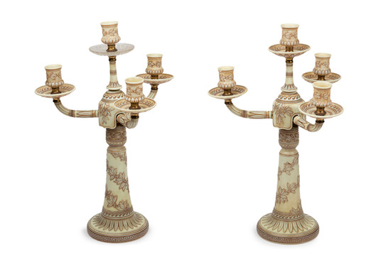 A rare pair of Thomas Webb & Sons ivory cameo glass candelabra, circa 1885