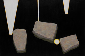 ALLEN HICKS Three Falls and Stepping Stones 2016 acrylic on canvas 61 x 91cm $750