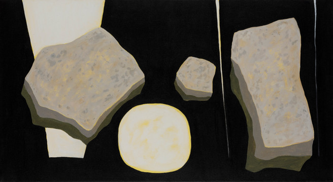 ALLEN HICKS Falls, Moon and Stepping Stones 2017 acrylic on canvas 61 x 100cm $750