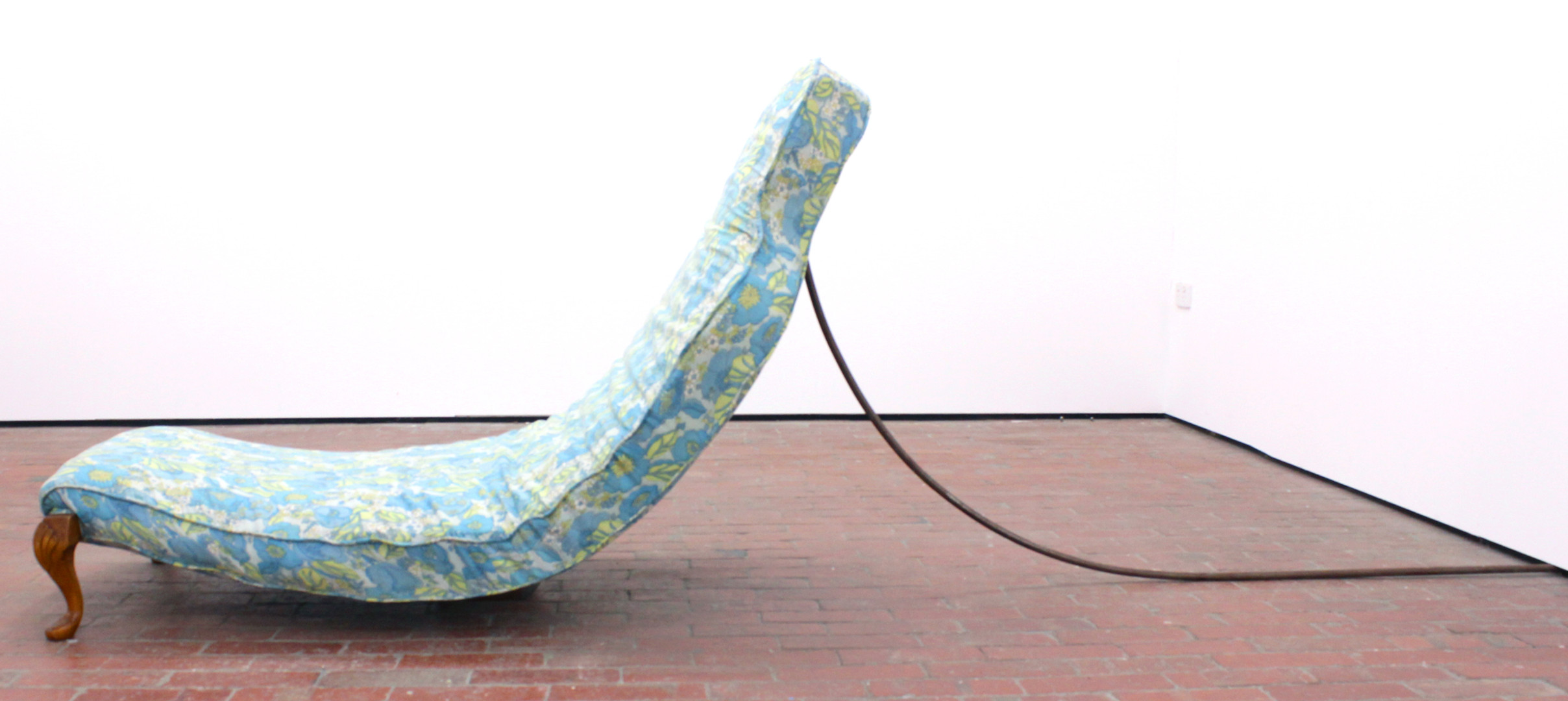 'Couch' Slump, 2014,  C3 Artspace Abbotsford.  Wood, upcycled fabric, wadding, copper. H 100cm x W 76cm x L 270cm.  Image courtesy of the Artist