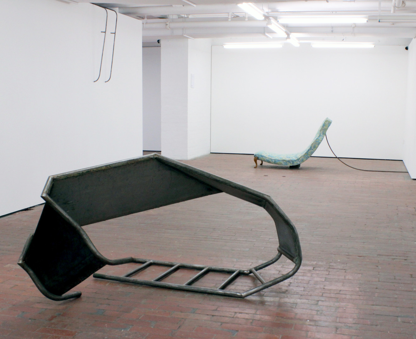 Slump, 2014.  C3 Artspace Abbotsford.  Welded steel, wood, upcycled fabric, copper. Dimensions variable.  Image courtesy of the Artist