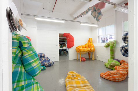 Comfort Zone, 2013.  RMIT Graduate Exhibition, Melbourne.  Wool, wood, steel, wadding, upcycled clothes.  Various Dimensions.