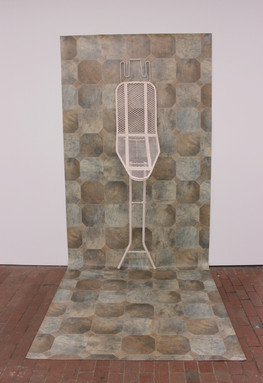 angle iron board 2019 @C3 Contemporary Artspace, Abbotsford.  Lino, Steel, Acrylic.  Dimensions variable