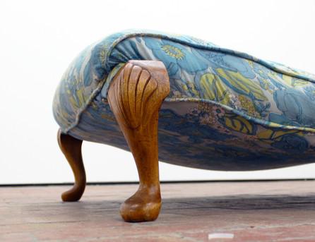 Slump, 2014.  C3 Artspace Abbotsford.  wood, upcycled fabric, wadding, copper. Image courtesy of the Artist