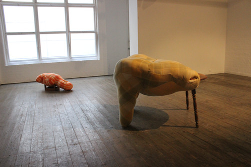 'o' and 'Table', Meridian @ 45 Downstairs.  Wool, found materials, wadding, nylon, wood.  Dimensions variable