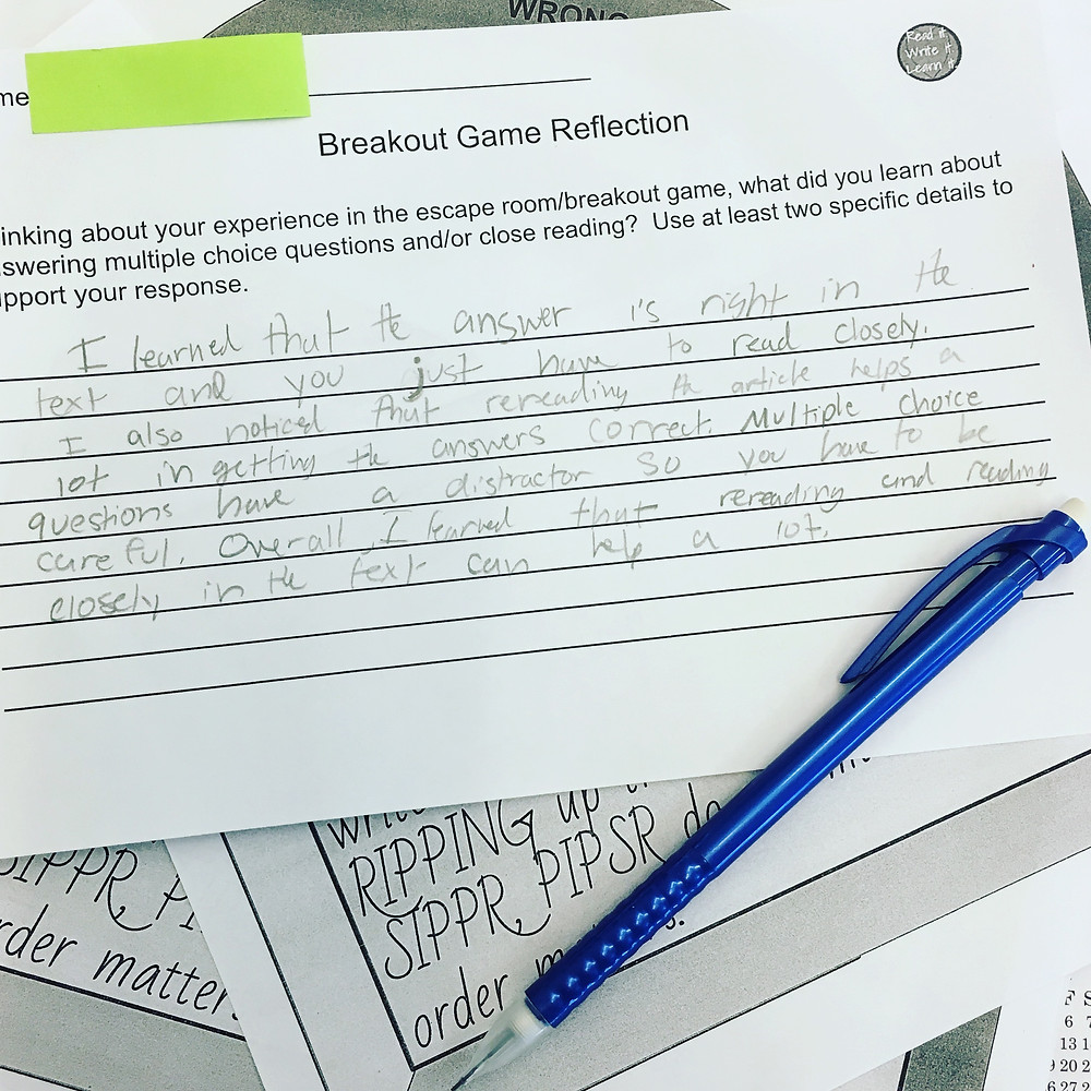Breakout Game Reflection/Exit Ticket